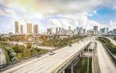 Miami skyline and Highways — Stock Photo