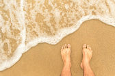 Naked feet at the Beach - Barefeet nature Background — Stock Photo