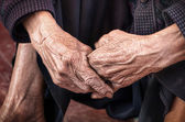 Dramatic hands of an old unidentified Person — Stock Photo