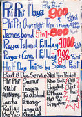 Handwritten signboard with excursion offers in Thailand — Stock Photo