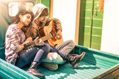 Romantic young Couple of lovers playing Guitar outdoor with suns — Stock Photo