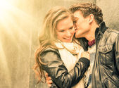 Couple at the beginning of a romantic love story - Fashion man w — Stock Photo