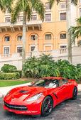 Chevrolet Corvette Stingray parked in front of Biltmore Hotel in Miami — Stock Photo