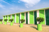 Colorful dressing Cabins at the Beach - Concept of upcoming summer in Rimini Italy — Stock Photo