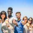 Group of multiracial happy friends with thumbs up - Concept of international friendship and success against racism and multiethnic social barriers — Stock Photo #48687943