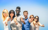 Group of multiracial happy friends with thumbs up - Concept of international friendship and success against racism and multiethnic social barriers — Stock Photo