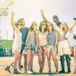 Group of multiracial happy friends taking selfie at ferris wheel - International concept of happiness and multi ethnic friendship all together against racism for peace and fun - Vintage filtered look — Стоковое фото