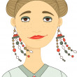 Young woman with long earrings — Stock Vector #29933639