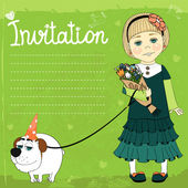 Invitation with picture of girl with dog — Stock Vector