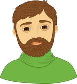 Brown-eyed, bearded man in a green sweater — Stock Vector