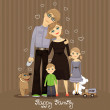 Family: father, mother, daughter, son and dog — Stock Vector