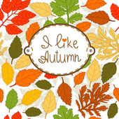 "Seamless Autumn Pattern with sign ""I like autumn"" — Stock Vector"