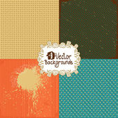 Set of four retro backgrounds — Stock Vector