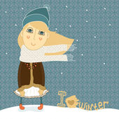 Cute girl illustration - I Love Winter — Wektor stockowy