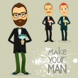Man with bouquet — Vector de stock