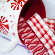 A Cup Full of Old Fashioned Peppermint Christmas Ribbon Candies — Stock Photo #30468259