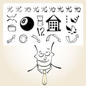 Doodle businessman with icon thoughts — Stock Vector