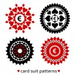 Four card suit round patterns — Stock Vector