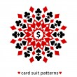 Card suit snowflake ornament — Stock Vector