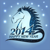Horse with stars as a symbol of 2014 — Stock Vector
