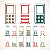 Cell phone abstract icons — Stock Vector