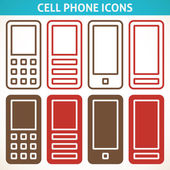 Cellphone and smartphone abstract icons — Stock Vector