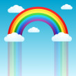 Rainbow rain and clouds in the sky — Stock Vector