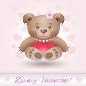 Beautiful Teddy bear girl in love — Stock Vector