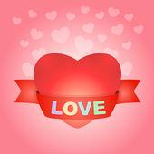 Big love heart on pink — Stock Vector