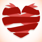 Red ribbon banner in the shape of heart — Vector de stock