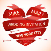 Wedding invitation in the shape of heart — Stock Vector