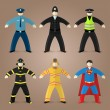 Постер, плакат: Professions set of policeman fireman and superman