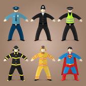 Professions set of policeman, fireman and superman — Stock Vector