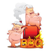 Two funny pigs near the red smoker — Stock Vector