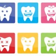 Funny icons of teeth for pediatric dentistry — Vector de stock #37913313
