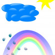 Sky, Sun, cloud, rainbow, drops, rain, — Stock Vector