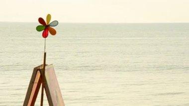 Wind turbines at the beach — Stock Video