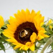 Sunflowers with inset Diamond Ring — Stock Photo #29857387