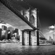 new york skyline from the river at brooklyn bridge — Stock Photo