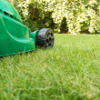 Green Lawnmower on Grass — Foto Stock