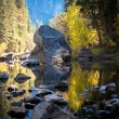 Tree And Foliage Reflections The Merced River In Yosemite — Stock Photo