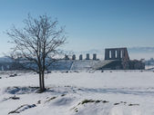 Snow around Roman Amphitheatre — Stock Photo