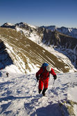 Hiking at winter — Stock Photo