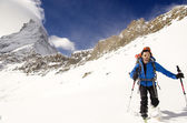 Hiking in Swiss Alps — Stock Photo