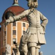 Stock Photo: Statue of Bugler in front of Moritzburg Castle