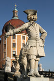 Statue of a Bugler in front of the Moritzburg Castle — Stock Photo