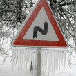 Road Sign with Icicles — Stock Photo