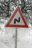 Road Sign with Icicles — Foto de Stock