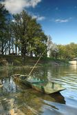 Fishing Boat near the Dam of the Pond Rozmberk — Stock Photo