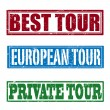 Best tour, european tour and private tour stamps — Stock Vector